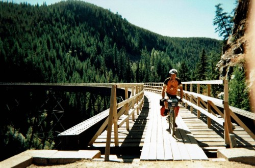 Larry N. Crossing #6 Trestle at Myra Canyon