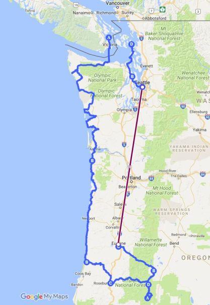 Crater Lake via Washington and Oregon Coasts