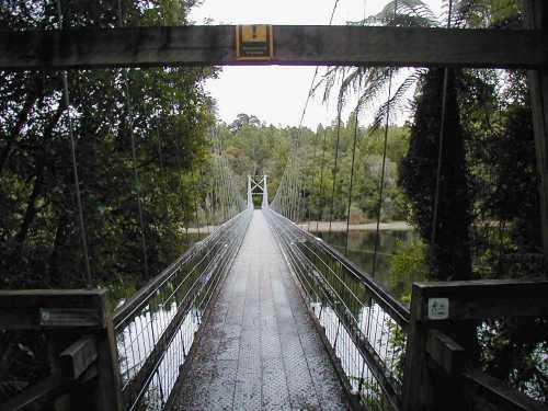 Swing Bridge over Lake Brunner at Moana