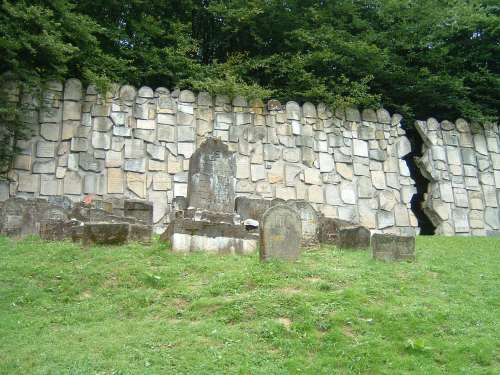 A Wall Made of Headstones from a Jewish Cemetery Destroyed by the Nazis