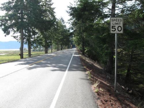 Road Narrowing for Bridge Ahead