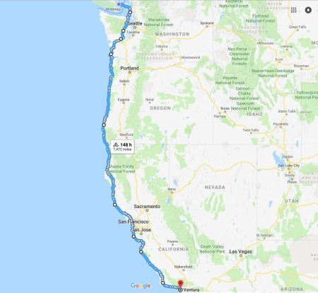 Sidney, BC to Ventura, CA Approximate Route