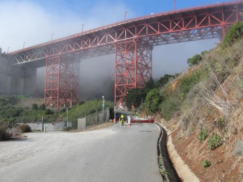 Start of the Steep Twisting Road to the Bridge Deck