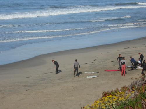 Surfers Getting Ready