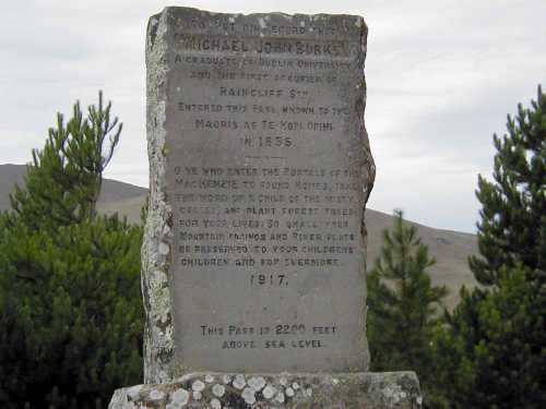 Marker at Burke Pass