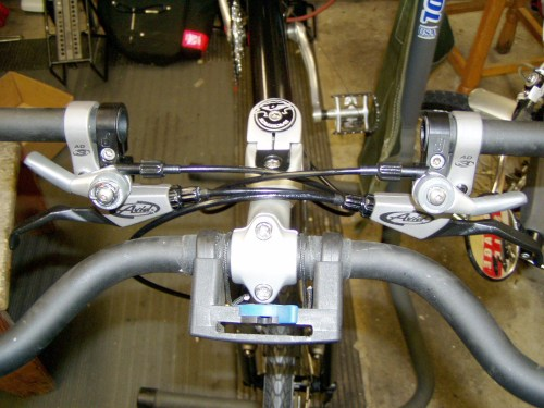 Paul's Thumbies and Avid levers installed on butterfly handlebar