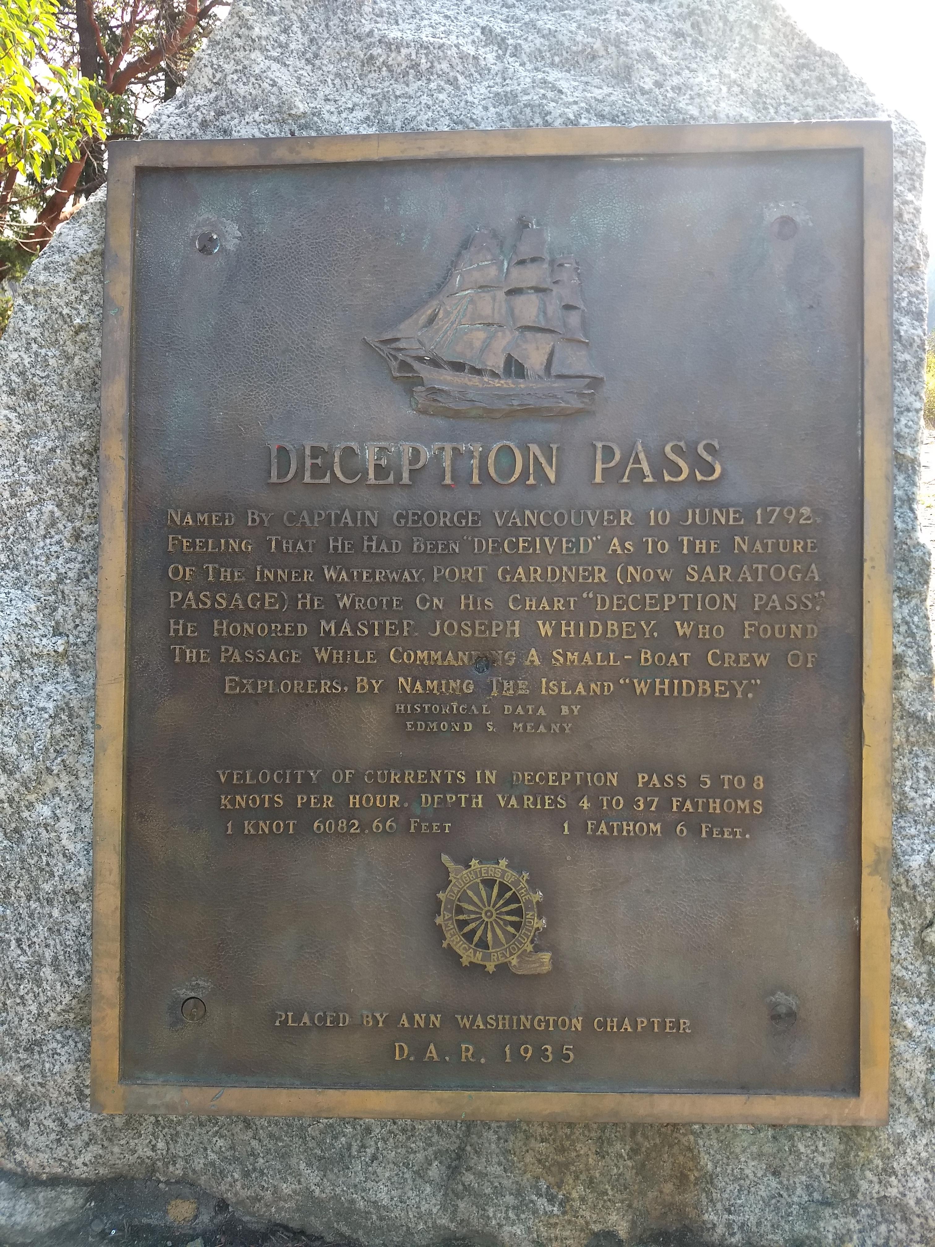 Interpretive Plaque at Deception Pass
